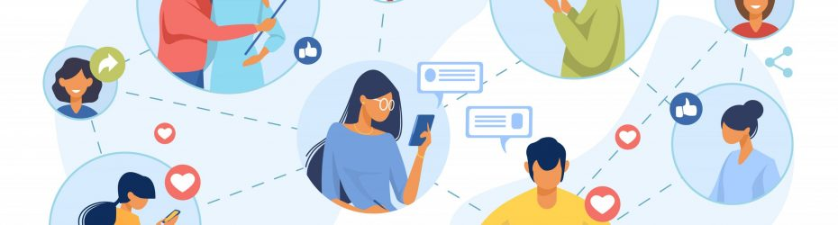 Social media network. Connected users taking pictures, posting, chatting flat vector illustration. Internet, connection, communication concept for banner, website design or landing web page