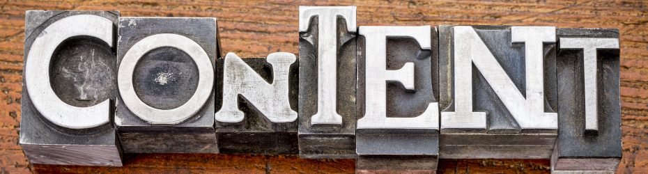 content  word in vintage metal type printing blocks over grunge wood, mixed fonts in style and size